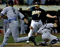 Derek Jeter New York Yankees Autographed 16'' x 20'' Bat Flip vs Oakland Athletics Photograph