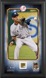 "Derek Jeter Framed 10"" x 18"" Vertical Pano with Game-Used Dirt from 2014 Season"