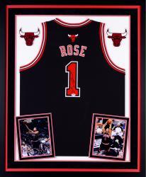 Derrick Rose Chicago Bulls Autographed Deluxe Framed Black Adidas Swingman Jersey