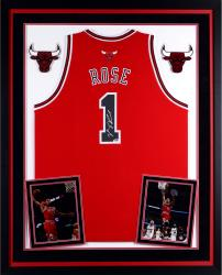 Derrick Rose Chicago Bulls Autographed Deluxe Framed Red Adidas Swingman Jersey