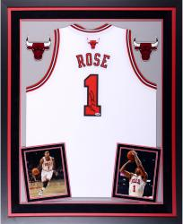 Derrick Rose Chicago Bulls Autographed Deluxe Framed White Adidas Swingman Jersey