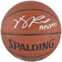 Spalding Derrick Rose Autographed Indoor/Outdoor NBA Basketball with ''MVP 11'' Inscription - Mounted Memories