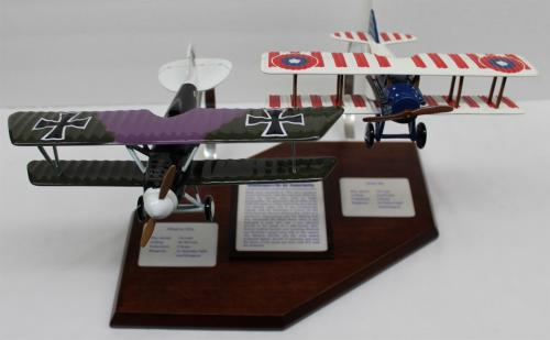 Desktop Model Airplane WWI SPAD XIII & Albatros DVa Wood Hand Crafted 23142