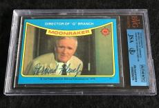 Desmond Llewelyn Signed 1979 James Bond Moonraker Card Autograph Jsa/bvs Bgs
