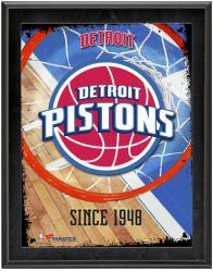 """Detroit Pistons Team Logo Sublimated 10.5"""" x 13"""" Plaque"""