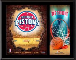 """Detroit Pistons Sublimated 12"""" x 15"""" Team Logo Plaque"""