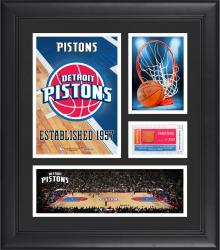 "Detroit Pistons Team Logo Framed 15"" x 17"" Collage with Team-Used Baseketball"