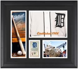 """Detroit Tigers Team Logo Framed 15"""" x 17"""" Collage with Piece of Game-Used Ball"""