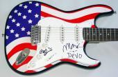 Devo Autographed Signed USA Flag Guitar PSA/DNA COA   AFTAL