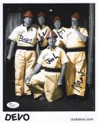 DEVO HAND SIGNED 8x10 PHOTO       VERY RARE        SIGNED BY WHOLE BAND      JSA