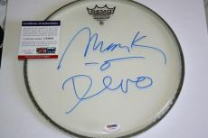 DEVO Mark Mothersbaugh signed Drumhead, Whip It, New Wave, PSA/DNA, Proof, COA#1