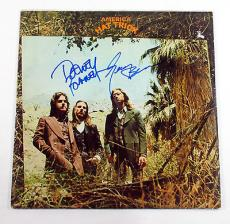 Dewey Bunnell & Gerry Beckley Signed Record Album America Hat Trick w/ 2 AUTOS