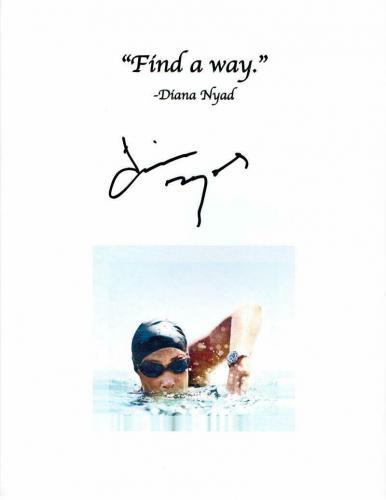 Diana Nyad Signed Autograph Inspirational Mini Poster - Swimming Legend C