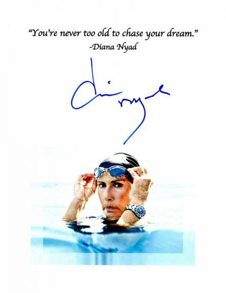 Diana Nyad Signed Autograph Inspirational Mini Poster - Swimming Legend D