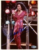 """Diana Ross Autographed 8"""" x 10"""" Red Dress Arm in Air Photograph - BAS COA"""