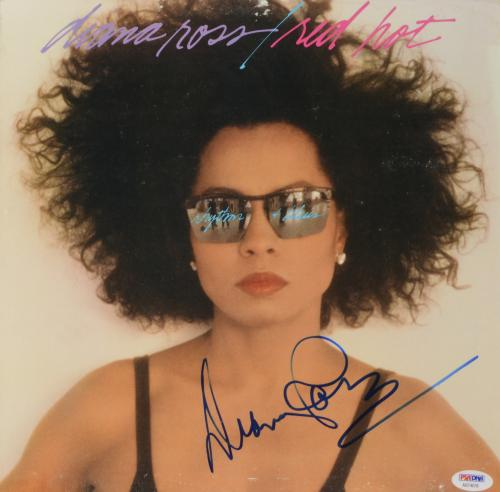 Diana Ross Autographed Red Hot Album Cover - PSA/DNA COA