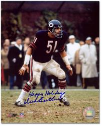 Dick Butkus Chicago Bears Autographed 8'' x 10'' Photograph with Happy Holidays Inscription - Mounted Memories