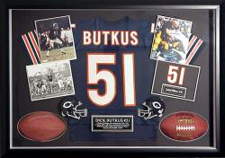 Dick Butkus Chicago Bears Large Autographed Shadow Box