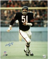 Dick Butkus Chicago Bears Autographed 16'' x 20'' Navy Uniform Photograph with HOF 79 Inscription - Mounted Memories