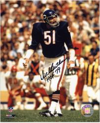 Dick Butkus Chicago Bears Autographed 8'' x 10'' Black Ink Photograph with HOF 79 Inscription - Mounted Memories