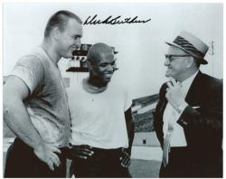 "Dick Butkus Chicago Bears Autographed 8"" x 10"" with George Halas and Gale Sayers Photograph"