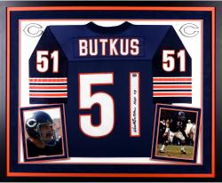 Dick Butkus Chicago Bears Autographed Deluxe Framed Navy Blue Reebok EQT Jersey with HOF 79 Inscription