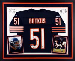 Dick Butkus Chicago Bears Autographed Deluxe Framed Navy Blue Reebok Jersey with Multiple Inscriptions-#2-50 of a Limited Edition of 51