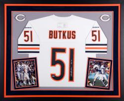 Dick Butkus Chicago Bears Autographed Deluxe Framed White Reebok EQT Jersey with HOF 79 Inscription