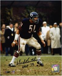 "Dick Butkus Chicago Bears Autographed 8x10 Photograph with ""HOF 79"" Inscription - Mounted Memories"