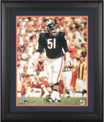 "Dick Butkus Chicago Bears Framed Autographed 16"" x 20"" Crowd in Background Color Photograph"