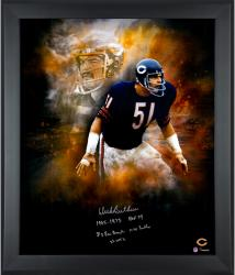 Dick Butkus Chicago Bears Framed Autographed 20'' x 24'' In Focus Photograph with Multiple Inscriptions-#2-50 of a Limited Edition of 51 - Mounted Memories