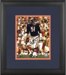 "Dick Butkus Chicago Bears Framed Autographed 8"" x 10"" Black Ink Photograph with HOF 79 Inscription"