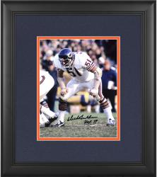"Dick Butkus Chicago Bears Framed Autographed 8"" x 10"" Stance Photograph with HOF 79 Inscription"