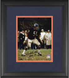 "Dick Butkus Chicago Bears Framed Autographed 8x10 Photograph with ""HOF 79"" Inscription"
