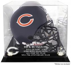 Dick Butkus Chicago Bears Hall of Fame 79 Golden Classic Helmet Case with Mirror Back - Mounted Memories