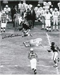 "Dick Butkus Chicago Bears Autographed 8"" x 10"" Jump Black and White Photograph"