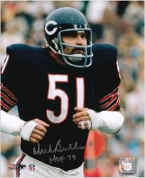 Dick Butkus Chicago Bears Autographed 8'' x 10'' Blue Jogging Photograph with HOF 79 Inscription - Mounted Memories