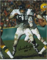 Dick Butkus Chicago Bears Autographed 8'' x 10'' vs Green Bay Packers Photograph with HOF 79 Inscription - Mounted Memories