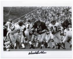 Dick Butkus Chicago Bears Autographed 8'' x 10'' vs Atlanta Falcons Black and White Photograph - Mounted Memories