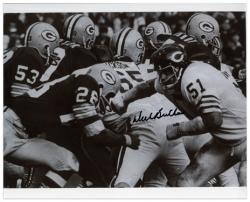 Dick Butkus Chicago Bears Autographed 8'' x 10'' vs Green Bay Packers Black and White Photograph - Mounted Memories