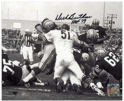 Dick Butkus Chicago Bears Autographed 8'' x 10'' Packer Pile Up Photograph with HOF 79 Inscription - Mounted Memories