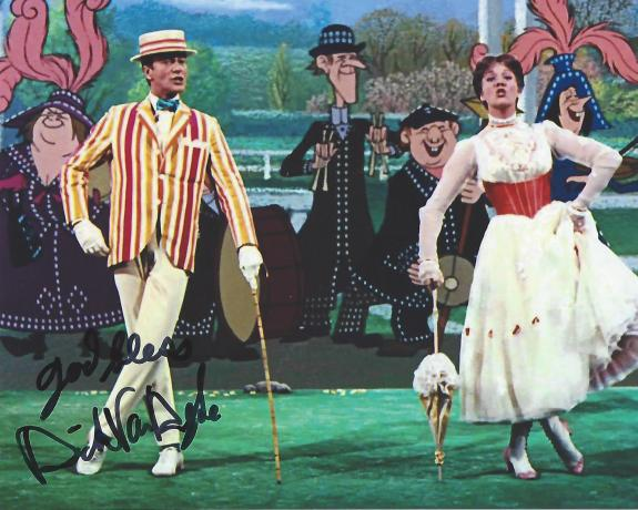 "DICK VAN DYKE as BERT in 1964 Movie ""MARY POPPINS"" Signed 10x8 Color Photo"