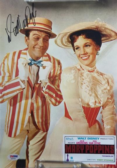 DICK VAN DYKE DISNEY'S MARY POPPINS Signed 9.5x13 PSA/DNA COA AUTO CREASED C