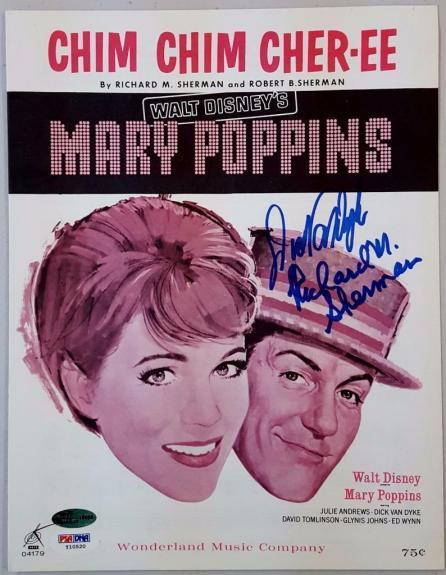 Dick Van Dyke Richard M. Sherman Signed Mary Poppins Music Sheet PSA Chim Chim