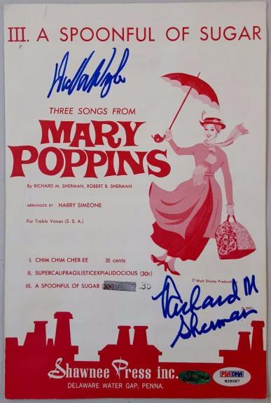 Dick Van Dyke Richard M. Sherman Signed Mary Poppins Music Sheet PSA W28087