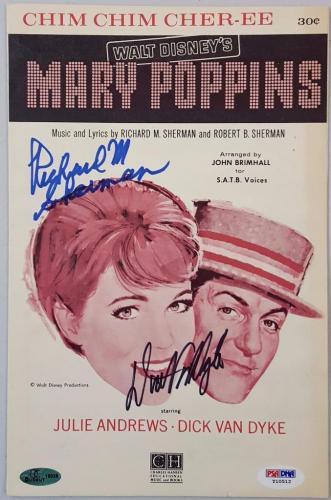 Dick Van Dyke Richard M. Sherman Signed Mary Poppins Music Sheet PSA Y10512