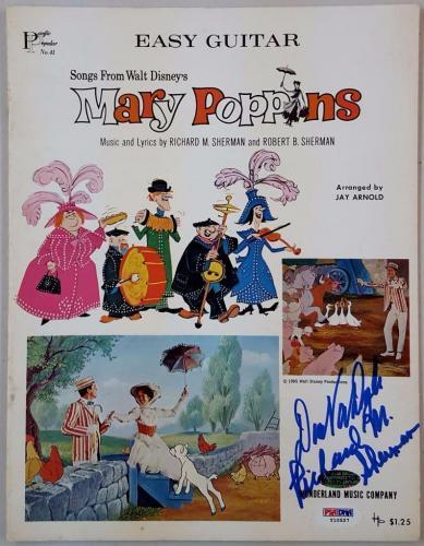 Dick Van Dyke Richard M. Sherman Signed Mary Poppins Music Sheet PSA Y10527
