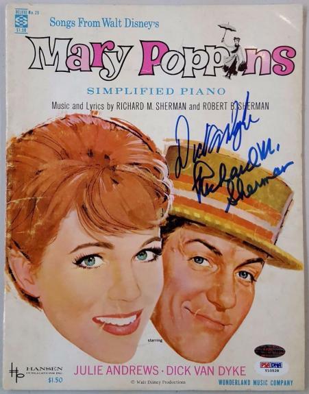Dick Van Dyke Richard M. Sherman Signed Mary Poppins Song Album Book PSA Y10528