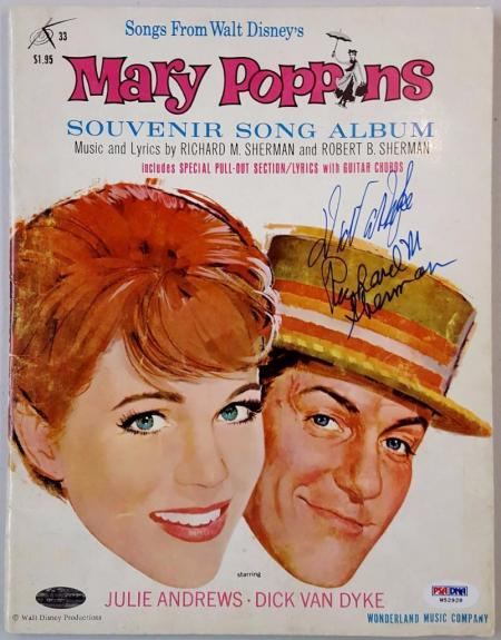 Dick Van Dyke Richard M. Sherman Signed Mary Poppins Song Album PSA W52928