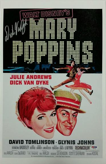 DICK VAN DYKE Signed 11x17 Canvas Photo Mary Poppins Movie Poster w/ PSA/DNA COA